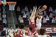 Southern California Trojans forward Evan Mobley (4) attempts to shoot over Stanford Cardinal forward Lukas Kisunas (32) during an NCAA men's basketball game, Wednesday, March 3, 2021, in Los Angeles. USC defeated Stanford 79-42. (Jon Endow/Image of Sport)