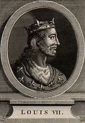 Louis VII (1120-1180) king of France from 1137,  member of the Capetian dynasty and first husband of Eleanor of Aquitaine. The marriage was annulled and Eleanor married Henry of Anjou, later Henry II of England. Copperplate engraving 1793.