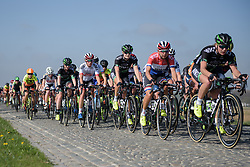 WM3 take charge across the Lange Munte cobbles at the Women's Ronde van Vlaanderen 2017. A 153 km road race on April 2nd 2017, starting and finishing in Oudenaarde, Belgium. (Photo by Sean Robinson/Velofocus)