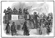 Albert (1819-1861) Consort of Queen Victoria from 1840. Funeral hearse approaching St George's Chapel, Windsor. From first issue of 'The Illustrated London News' after Albert's death 14 December 1861. Black border denoting the nation's mourning