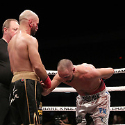 TAMPA, FL - JUNE 22: Paulie Malignanni (R) thanks Artem Lobov after the last round during the Bare Knuckle Fighting Championships at Florida State Fairgrounds Entertainment Hall on June 22, 2019 in Tampa, Florida. (Photo by Alex Menendez/Getty Images) *** Local Caption *** Paulie Malignanni; Artem Lobov