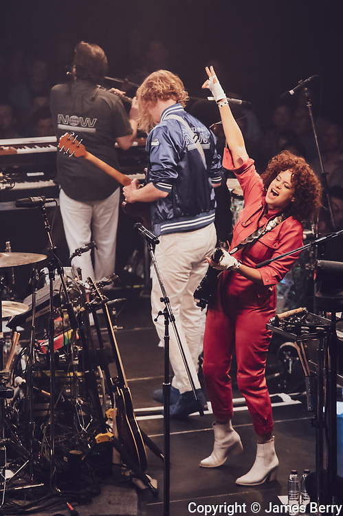 Arcade Fire perform the first of two special shows to launch new album Evetrything Now live at York Hall, a boxing venue in Bethnal Green in East London, on Tueday 4 July 2017. Picture shows<br /> Régine Chassagne.