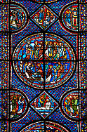 Medieval stained glass Window of the Gothic Cathedral of Chartres, France - dedicated to the Life of St Mary Magdalen. Central panel - bottom left - Mary meets the angel at Christ's empty tomb (the Quem quaeritis), bottom right - The Noli me tangere, top left - Mary as the Apostola Apostolorum , top right - The Apostles receiving Mary's news . Diamond below and side panels either side - Christ raising Lazarus. A UNESCO World Heritage Site. .<br /> <br /> Visit our MEDIEVAL ART PHOTO COLLECTIONS for more   photos  to download or buy as prints https://funkystock.photoshelter.com/gallery-collection/Medieval-Middle-Ages-Art-Artefacts-Antiquities-Pictures-Images-of/C0000YpKXiAHnG2k