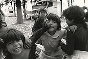 Gypsy children posing for camera