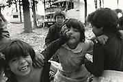 Gypsy children posing for camera