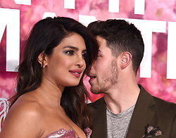 """Priyanka Chopra and Nick Jonas among guests at the """"Isn't It Romantic"""" world premiere held at The Theatre at Ace Hotel on February 11, 2019 in Los Angeles, California. 11 Feb 2019 Pictured: Priyanka Chopra and Nick Jonas. Photo credit: MEGA TheMegaAgency.com +1 888 505 6342"""