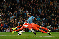 Dinamo Zagreb keeper Dominik Livakovic saves a shot from Manchester City's Sergio Aguero<br /> <br /> Football - 2019 / 2020 UEFA Champions League - Champs Lge Grp C: Man City-D Zagreb<br /> <br /> , at Etihad Stadium<br /> <br /> Colorsport / Terry Donnelly