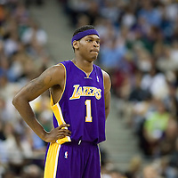 18 April 2007: Smush Parker rests during the Los Angeles Lakers 117-106 victory over the Sacramento Kings at the Arco Arena in Sacramento, CA.