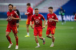 NICE, FRANCE - Wednesday, June 2, 2021: Wales' Joe Allen, Joseff Morrell and Harry Wilson during the pre-match warm-up before an international friendly match between France and Wales at the Stade Allianz Riviera ahead of the UEFA Euro 2020 tournament. (Pic by Simone Arveda/Propaganda)