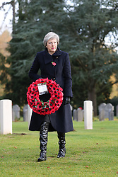 Prime Minister Theresa May at the St Symphorien Military Cemetery in Mons, where she is laying wreaths at the graves of John Parr, the first British soldier to be killed in 1914, and George Ellison, the last to be killed before Armistice.