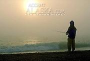 Alaska. Arctic National Wildlife Refuge  ANWR . Fishing in the Beaufort Sea from Arey Island, 5 miles west of Barter Island. MR.