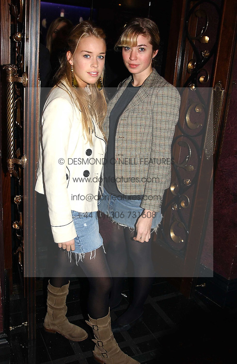 Left to right, MARY CHARTERIS and MISS ANOUSKA GERHAUSER daughter of Tamara Beckwith at a party to celebrate a new collection of sexy underware by Janet Reger called 'Naughty Janet' held at 5 Cavendish Square, London on 19th October 2004.<br /><br />MINIMUM REPRODUCTION FEE - SEE OUR WEB SITE<br /><br />NON EXCLUSIVE - WORLD RIGHTS-