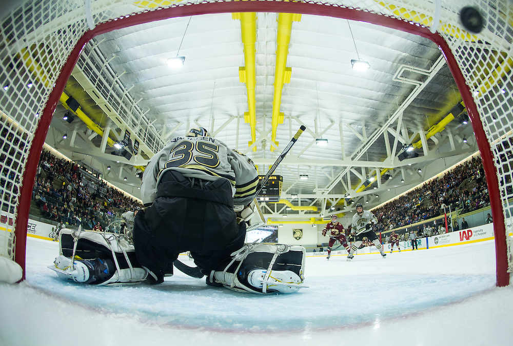 Boston College Forward Chris Brown (10) (not pictured) fires a shot past Army Goaltender Parker Gahagen (35) during the third period of a NCAA hockey game between Army and Boston College at Tate Rink on October 9, 2015 in West Point, New York. (Dustin Satloff)