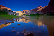 Watercolor rendition of reflections on the Green River at Split Mountain in Dinosaur, National Monument in Utah