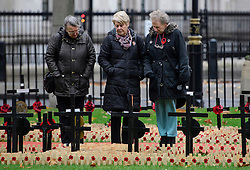 © Licensed to London News Pictures. 09/11/2016. London, UK. Three women watch over crosses in the field of remembrance at Westminster Abbey in London, ahead of it opening officially tomorrow (Thurs). The Field of Remembrance pays tribute to all  Service men and women who have served in our Armed Forces since World War I. Photo credit: Ben Cawthra/LNP