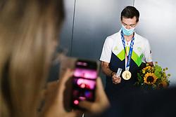 Primoz Roglic, Olympic gold medalist during his arrival from Tokyo 2020 on July 30, 2021 in Airport Joze Pucnik, Brnik, Ljubljana, Slovenia. Photo by Matic Klansek Velej / Sportida