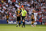 Morpeth Town Michael Chilton is yellow carded during the FA Vase match between Hereford FC  and Morpeth Town at Wembley Stadium, London, England on 22 May 2016. Photo by Dennis Goodwin.