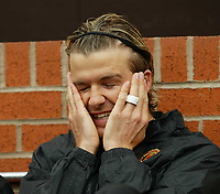 Manchester United's David Beckham on the bench against Liverpool during the Premiership match at Old Trafford, Manchester, Saturday, March 5th, 2003.<br /><br />Pic by David Rawcliffe/Propaganda<br /><br />Any problems call David Rawcliffe +44(0)7973 14 2020 david@propaganda-photo.com http://www.propaganda-photo.com