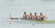 Racice, CZECH REPUBLIC.  GBR JM4X, at the start of their heat,  2010. FISA Junior World Rowing Championships. Jack BEAUMONT, Wilf KIMBERLY, Angus BROOM and Marcus BOWYER. Thursday,  05/08/2010.  [Mandatory Credit Peter Spurrier/ Intersport Images], Equipment,