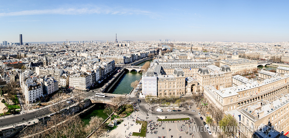 Aerial view of Paris skyline from the roof of Notre Dame de Paris.