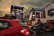 Rush hour traffic in the affluent shopping street on 28th February 2018 in Ernakulam, Kerala, India. The wealth in the Kerala state has become inflated by the many men who work in the Gulf countries and bring their earnings home.