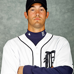 February 28, 2012; Lakeland, FL, USA; Detroit Tigers starting pitcher Rick Porcello (48) poses for photo day in the rec room at the Detroit Tigers Headquarters.  Mandatory Credit: Derick E. Hingle-US PRESSWIRE
