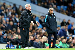 Hull City Manager Steve Bruce gestures ahead of Manchester City Manager, Manuel Pellegrini  - Mandatory byline: Matt McNulty/JMP - 01/12/2015 - Football - Etihad Stadium - Manchester, England - Manchester City v Hull City - Capital One Cup - Quarter-final