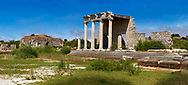 The Roman Ionic Stoa forms a colonnade 99 m long & 9 m high at the beginning of the Sacred Way to Didyma. An Ionic portica at its centre which served as a grandstand during ceremonial processions on the street in front of it. 1st century AD, Miletus Archaeological Site, Anatolia, Turkey. .<br /> <br /> If you prefer to buy from our ALAMY PHOTO LIBRARY  Collection visit : https://www.alamy.com/portfolio/paul-williams-funkystock/miletus-site-turkey.html<br /> <br /> Visit our CLASSICAL WORLD HISTORIC SITES PHOTO COLLECTIONS for more photos to download or buy as wall art prints https://funkystock.photoshelter.com/gallery-collection/Classical-Era-Historic-Sites-Archaeological-Sites-Pictures-Images/C0000g4bSGiDL9rw