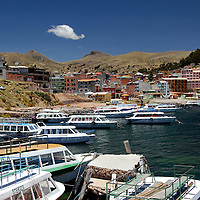 South America, Bolivia, Copacabana. Copacabana Harbor on Lake Titicaca.