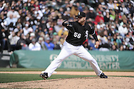 CHICAGO - APRIL 17:  Mark Buehrle #56 of the Chicago White Sox pitches against the Los Angeles Angels of Anaheim on April 17, 2011 at U.S. Cellular Field in Chicago, Illinois.  The Angels defeated the White Sox 4-2.  (Photo by Ron Vesely)  Subject:  Mark Buehrle