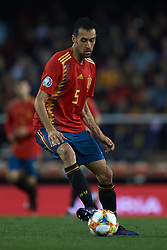 March 23, 2019 - Valencia, Valencia, Spain - Sergio Busquets of Spain controls the ball during the 2020 UEFA European Championships group F qualifying match between Spain and Norway at Estadi de Mestalla on March 23, 2019 in Valencia, Spain. (Credit Image: © Jose Breton/NurPhoto via ZUMA Press)