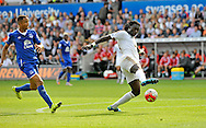 Bafetimbi Gomis of Swansea City controls the ball in the first half.<br /> Barclays Premier League match, Swansea city v Everton at the Liberty Stadium in Swansea, South Wales on Saturday 19th September 2015.<br /> pic by Phil Rees, Andrew Orchard sports photography.