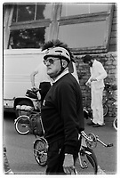 Australian journalist Murray Sayle at the 30th anniversary of Moulton Bikes in the presence of Dr Alexander Moulton CBE. September 1992