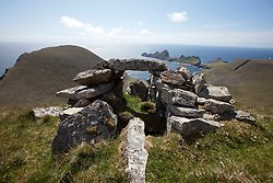 A cleit above Oiseval and the Village Bay, Hirta, the largest island of the St Kilda archipelago, west-northwest of North Uist in the North Atlantic Ocean. It is one of Scotland's five World Heritage Sites..©Michael Schofield..