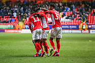 Charlton Athletic forward Karlan Ahearne-Grant (18) celebrates his goal with teammates during the EFL Sky Bet League 1 match between Charlton Athletic and Bristol Rovers at The Valley, London, England on 24 November 2018.