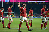 Vincent Debaty of France gives a thumbs up to the French supporters during a victory lap after the final whistle. Rugby World Cup 2015 pool D match, France v Italy at Twickenham Stadium in London on Saturday 19th September 2015.<br /> pic by John Patrick Fletcher, Andrew Orchard sports photography.
