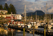 Alaska, Ketchikan.   Creek Street historic district, boat harbor with quaint buildings.