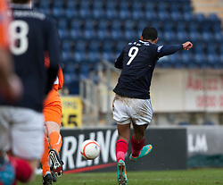 Falkirk's Lyle Taylor scoring their first goal..half time : Falkirk v Forfar Athletic, Scottish Cup fifth round tie, 2/2/2013. .©Michael Schofield.