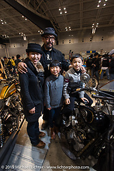 """Hammer Cycle's """"Hammer"""" and his family at the Annual Mooneyes Yokohama Hot Rod and Custom Show. Japan. Sunday, December 7, 2014. Photograph ©2014 Michael Lichter."""