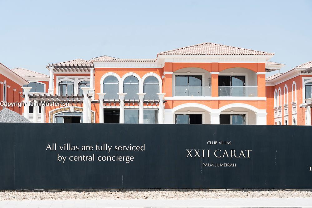 Billboard at new luxury villas for sale on Palm Jumeirah in Dubai , UAE, united Arab Emirates