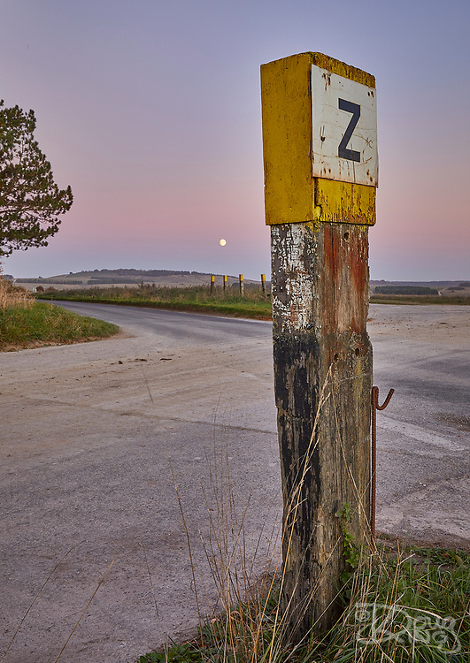Wooden marker post for Z Crossing on the British Army ranges on Salisbury Plain