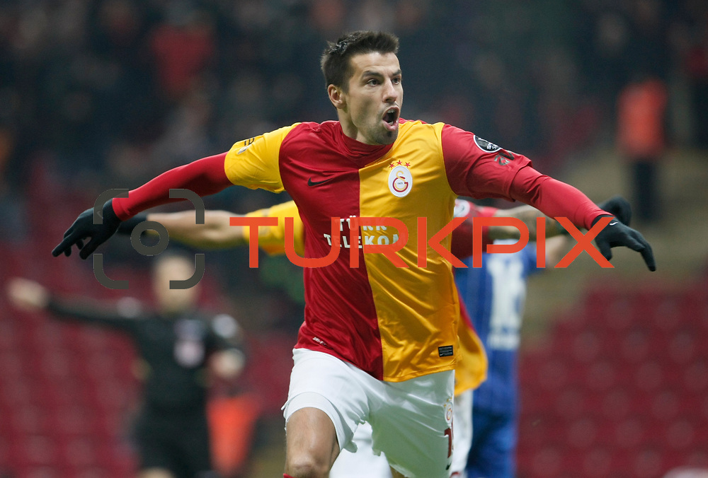 Galatasaray's Milan Baros celebrate his goal during their Turkish Super League soccer match Galatasaray between Kardemir Karabukspor at the Turk Telekom Arena at Seyrantepe in Istanbul Turkey on Saturday 14 January 2012. Photo by TURKPIX