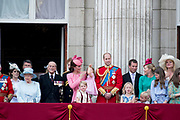 Trooping the Colour is a ceremony performed by regiments of the British and Commonwealth armies and as also marked the official birthday of the British sovereign, Queen Elizabeth.It is held in London annually on a Saturday in June on Horse Guards Parade by St. James's Park<br /> <br /> On the photo:  Queen Elizabeth II and Prince Philip, Duke of Edinburgh<br /> Prince William, Catherine, Kate, Duchess of Cambridge and Prince George and Princess Charlotte  Queen Elizabeth II and Prince Philip, Duke of Edinburgh<br /> Prince William, Catherine, Kate, Duchess of Cambridge and Prince George and Princess Charlotte , Prince Harry<br /> Prince Charles, Prince of Wales and Prince Harry Camilla, Duchess of Cornwall and Catherine, Kate, Duchess of Cambridge , Princess and Eugenie and Princess Beatrice