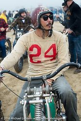 Go Takamine of Japan on his Indian Chout racer in the pits at TROG West - The Race of Gentlemen. Pismo Beach, CA, USA. Saturday October 15, 2016. Photography ©2016 Michael Lichter.