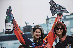 LIMA, Jan. 7, 2019  Two women pose before the departure ceremony at the 2019 Dakar Rally Race, Lima, Peru, on Jan. 6, 2019. The 41st edition of Dakar Rally Race kicked off in Lima, Peru. (Credit Image: © Xinhua via ZUMA Wire)