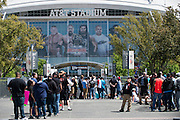 Fans line up outside WrestleMania on April 3, 2016 in Arlington, Texas.