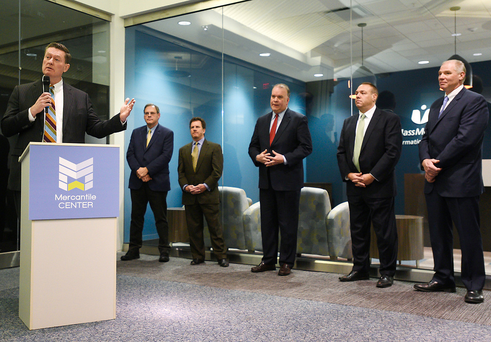 Worcester city manager Ed Augustus speaks before the ribbon cutting for the new UMass Memorial Health Care office space in Mercantile Center on Wednesday, December 7, 2016.