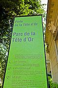 Sign at Parc de la Tete d'Or, Lyon, France (UNESCO World Heritage Site)
