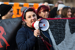 © Licensed to London News Pictures. 05/01/2016. London, UK. Lisa McKenzie from class war speaking to protesters from Defend Council Housing (DCH), joined by housing groups, trades unions and Class War at a protest against the Housing Bill outside the Houses of Parliament in Westminster. The protesters then marched to Downing Street before returning to parliament. MP's will debate the Housing and Planning Bill  in parliament today, which makes provisions about social housing, right to buy, estate agents, rent charges, planning and compulsory purchase. Photo credit : Vickie Flores/LNP