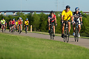 """ACTION during the first  """"Elected Officials bike ride"""" along the Champion Trail in Irving, Texas on August 6, 2013. Riders included nearly 15 mayors and council members from around north Texas with the aim to promote biking in their neighborhoods. (Cooper Neill / Texas Tribune)"""